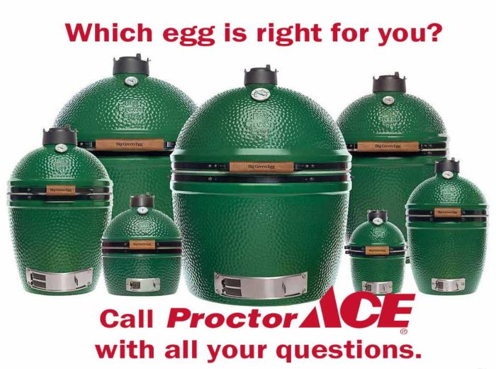 All sizes of Big Green Eggs Available