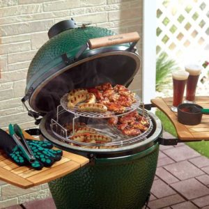 Big Green Egg being used to cook lots of food